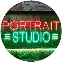 Portrait Studio Dual Color LED看板 ネオンプレート サイン 標識 緑色 + 赤色 600 x 400mm st6s64-i3554-gr