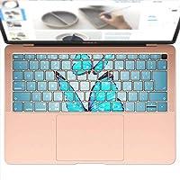 igsticker MacBook Air 13inch 2018 専用 キーボード用スキンシール キートップ ステッカー A1932 Apple マックブック エア ノートパソコン アクセサリー 保護 002820 アニマル 蝶 青 写真