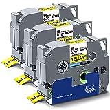 UniPlus Compatibile Nastro Cassette Etichette Compatibile per Brother Tze641 Tze-641 Nastro Laminato per Brother PT D400 P750W P950NW 2030VP D450VP E300VP, 18mm x 8m, Nero su Giallo, 3 Pz