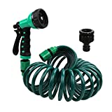 Recoil Garden Hose 25FT EVA Water Hose with 7-Pattern Spray Nozzle,3/8 inch Self Coiling Lightweight Garden Hose,Lead...