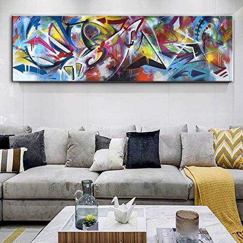 NLZNKZJ Tela Colorata Astratta Linea Arte, Stampe Dipinti ad Olio su Tela Arte Moderna, Quadri murali per Camera da Letto 60x180 cm Senza Cornice
