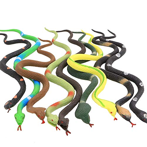 Zoo World Rubber Snake,9 Pack Realistic Snake Toy Set,Food Grade Material TPR Super Stretchy+Learning Study Card, Snake Figure Keep Birds Away Bathtub Garden Rainforest Squishy Reptile Fake Snake toy
