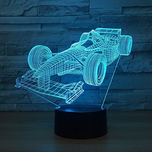 Racing Car Formula 3D Lámpara de mesa con luz nocturna 7 colores Lámpara cambiante Lámpara de escritorio 3d Novedad Luces nocturnas LED Luz LED Control remoto y mesa de estudio táctil Cha