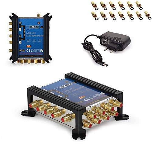 [ Test 2X SEHR GUT *] Anadol Gold Line Multischalter 5/8 für Satellit Multiswitch für 1 Satelliten 8 Ausgänge/Receiver - Sat-Verteiler externes Netzteil - Multischalter 13 vergoldeten F-Stecker
