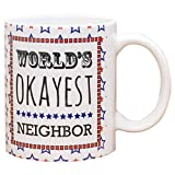 Lawenp Tazza da caffè in gres ceramico rosso bianco blu da 11 once più okayest del mondo