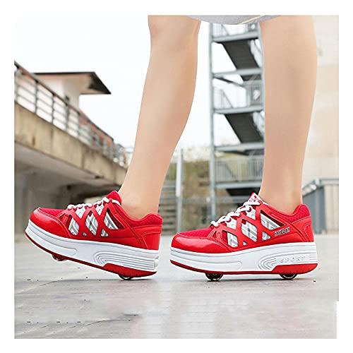 HANHJ Chica Moda Rodillo Zapatos Rodillo Skate Kids Skets Zapatillas Deporte Malla Transpirable Zapatos Patinaje Deportivo Al Aire Libre con Ruedas Dobles,Red-38 EU