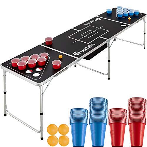 TecTake 403853 Bier Pong Tisch Set, inkl. 100 Becher (50 Rot & 50 Blau) + 6 Bälle, Beer Pong Table aus Aluminium, klappbar mit Tragegriffen, Becherhalter Löcher & großes Eisfach unter dem Tisch