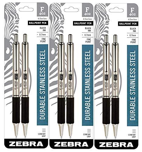 Zebra Pen Zebra F-402 Ballpoint Stainless Steel Retractable Pen(VAR) (6)