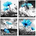 HLJ ART Modern Salon Theme Black and White Peacock Blue Vase Flower Abstract Painting Still Life Canvas Wall Art for Home Decor 12x12inches 4pcs/Set