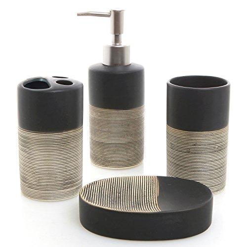 MyGift Deluxe 4 Piece Black & Beige Ceramic Bathroom Set w/Soap Dispenser, Toothbrush Holder, Tumbler & Soap Dish