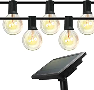 Outdoor Solar String Lights, 48ft/15m, 18 Pcs Solid Weatherproof LED Glass Bulbs with 4 Lighting Modes, Solar or USB Charg...