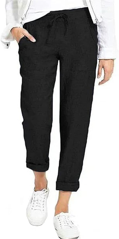 Women's Drawstring Slacks Lightweight Cotton Linen Back Elastic Tapered Pants Casual Loose Pocket Walking Trousers (4X-Large,Black)