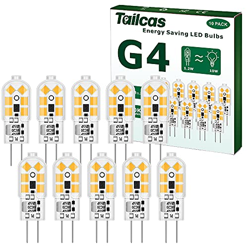 1,2W G4 LED Bombilla 12V, 10 Pezzi, Blanco Calido 3000K, 120LM LED Bulbo Equivalente Halógeno Bi Pin G4 10W, Sin Parpadeo, No-Regulable, Ahorro de Energía
