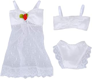 E-TING 1 Set 3 PCS White Fashion Pajamas Lingerie Lace Dress Clothes for Girl Dolls