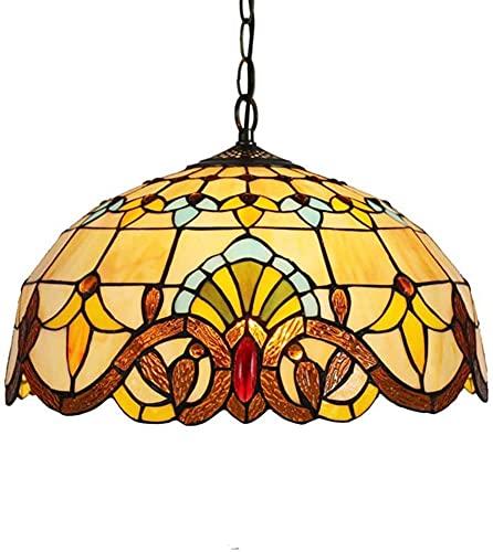 Lámpara de techo vintage Tiffany estilo europeo E26, lámpara de araña de cristal rural, para comedor, dormitorio, bar, lámpara de techo, 2 luces, 40 cm (color 3 luces)