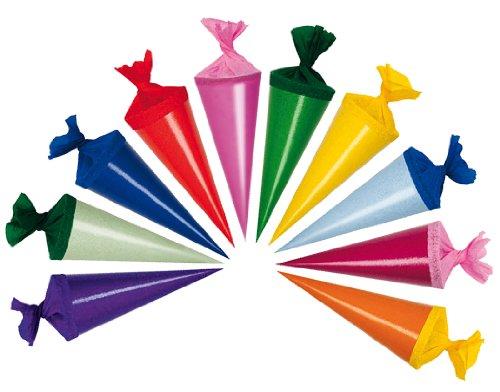 alles-meine.de GmbH 10 STK. Schultüte 12 cm - rund - Geschenktüte klein Dekoration Zuckertüte Deko für Schulanfang Dekotüten 12cm