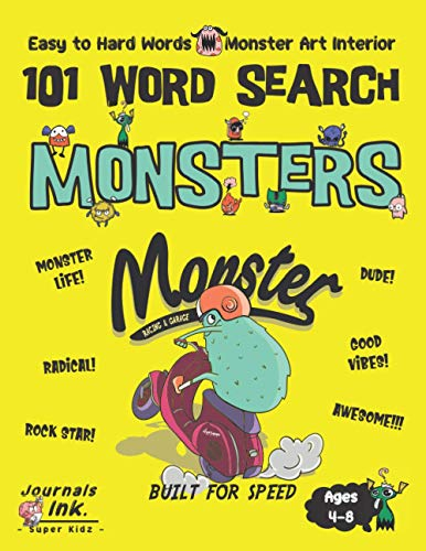 Monster Word Search Book for Kids Ages 4-8: 101 Puzzle Pages. Custom Art Interior. Cute fun gift! SUPER KIDZ. Moped Scooter Racing.