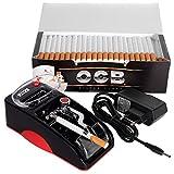 JeVx Maquina Liadora de Tabaco + 200 Tubos con Filtro OCB - Entubador Electrico para LLenado de Cigarros Entubar Cigarrillos de Fumar entubadora Electrica para Liar Rojo
