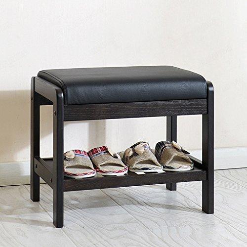Panca in legno massello di rovere con cuscino in similpelle nero e ripiano portaoggetti, scarpiera organizzatore Ingresso / corridoio / camera da letto, colore noce scuro ( dimensioni : Piccolo )