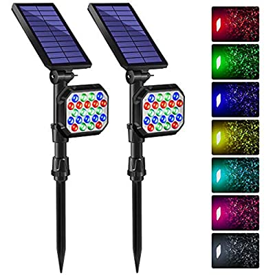 DBF 22 LED Outdoor Color Solar Spotlight Landscape Lighting with Auto Color Changing & Lock, Bright 2-in-1 Adjustable Wall Light Waterproof Solar Garden Spotlights for Yard Patio Pathway Pool -2 Pack