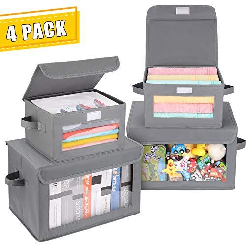 DIMJ 4 Stück Aufbewahrungsbox – Faltbar Aufbewahrungskiste mit Deckel und Sichtfenster aus Kunststoff – für Kleiderschrank, Kleidung, Bücher, Kosmetik, Spielzeug usw.