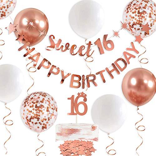 Guirnalda de oro rosa Sweet 16 con texto en alemán 'Alles Gute zum Birthday' para 16 decoraciones para colgar dulces, 16 caracteres para niñas de 16 cumpleaños, decoración para fiestas de 16 años