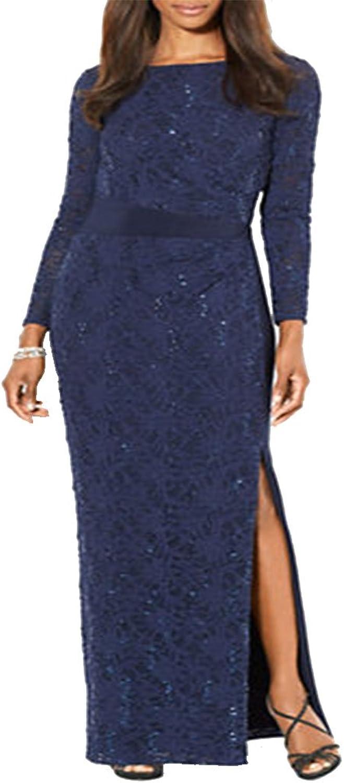 Lauren Ralph Lauren Womens Sequined Side Slit Evening Dress bluee 4