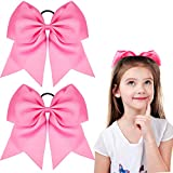 2 Packs Jumbo Cheerleading Bow 8 Inch Cheer Bows Large Cheerleading Hair Bows with Ponytail Holder for Teen Girls Softball Cheerleader Outfit Uniform (Hot Pink)