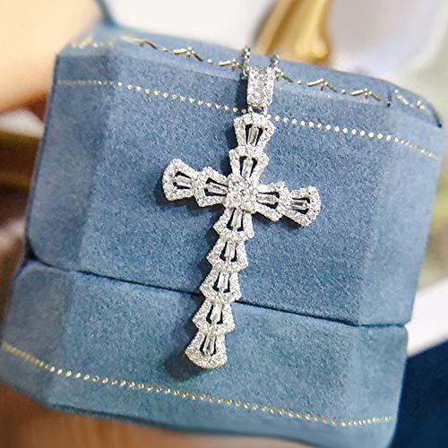 BJGCWY Collares con Colgante de Cruz de Piedras Preciosas de Diamantes de circonita de Cristal para...
