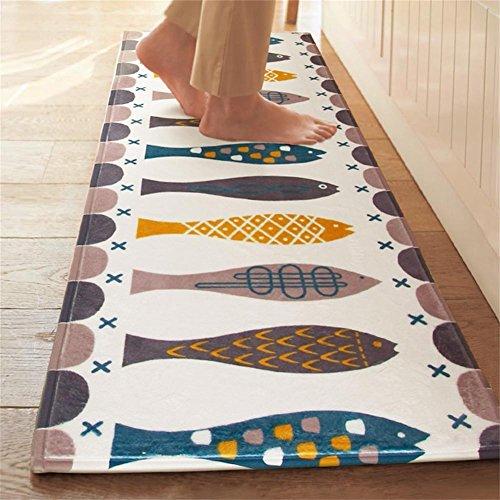 Homcomodar Badematte Waschbare Küche Teppich Rutschfester Teppichläufer Morden Fischmuster Badteppich Absorbierende Duschvorleger(43x120cm)