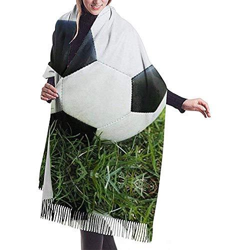 Balón de fútbol en bufanda de cachemira con estampado de hierba para mujer Casual bufanda cálida abrigo chal grande