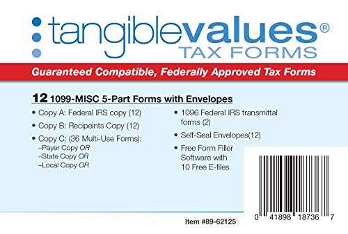 1099 Misc Tax Forms 2019 - Tangible Values 5-Part Kit with Envelopes - Software Download Included, 12 Pack Photo #6