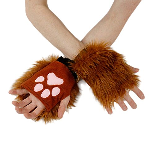 Pawstar Classic Pawlets Fingerless Glove Paws Furry Cat Fox Cosplay - Rust