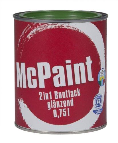 McPaint 2in1 Buntlack Grundierung und Lack in einem für Innen und Außen. PU verstärkt - speziell für Möbel und Kinderspielzeug glänzend Farbton: RAL 6002 Laubgrün 0,75 Liter - Bastellack