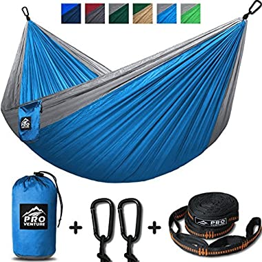 Double Camping Hammock - XL Hammocks, FREE Premium Straps & Carabiners - Lightweight + Compact Parachute Nylon - Backpacker Approved and Ready for Adventure! 10.5 x 6.5 FT