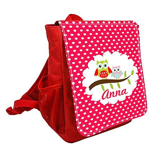 wolga-kreativ Kleiner Rucksack Kindergartentasche Mädchen Jungen Eulen am AST rot Kinderrucksack Kindergartenrucksack Jungs Kinder mit Namen Tagesrucksack Kindergarten Kindertasche