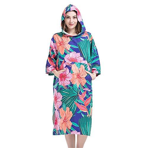 Asffdhley Poncho toalla cambiadora al aire libre, bata cambiadora, capa de secado rápido con flor grande para playa, surf, natación, triatlón