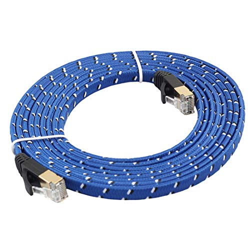 Cable Ethernet, 8m chapado en oro CAT-7 10 Gigabit Ethernet Ultra Flat Cable de conexión for módem router de red LAN, construido con conector RJ45 blindado, Enrutador, Módem, PC, Interruptores, Hub, L