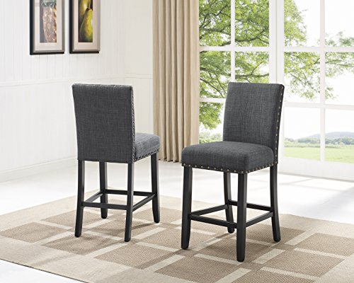 Biony Gray Fabric Counter Height Stools with Nailhead Trim, Set of 2