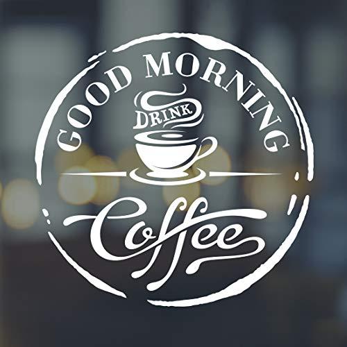 Adhesivo decorativo para pared con texto en inglés'Good Morning Drink Coffee Cafe Window Sticker Art Stickers Vinilo Decoración' para cocina, espejo, azulejos, citas, transferencias, decoración
