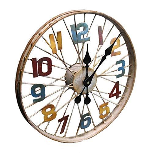 Ybzx Reloj de Pared de Metal con Rueda de Bicicleta con Efectos de Rueda de radios Reloj de Pared Mural de Estilo Industrial Retro Americano Reloj de Pared con decoración de Club de Hierro creati