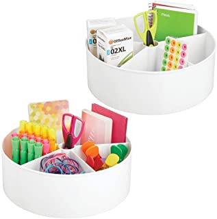 mDesign Deep Plastic Lazy Susan Turntable Storage Container - Divided Spinning Organizer for Home Office Supplies, Pens, Erasers, Tape, Colored Pencils - 2 Pack - White