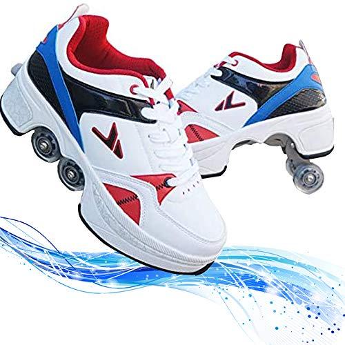 Verstellbare Quad-Rollschuh-Stiefel,Quad Skate Rollschuhe Skating Multifunktionale Deformation Schuhe 2-In-1-Mehrzweckschuhe, Für Kinder Geeignet, Anfänger,Blue-EUR36