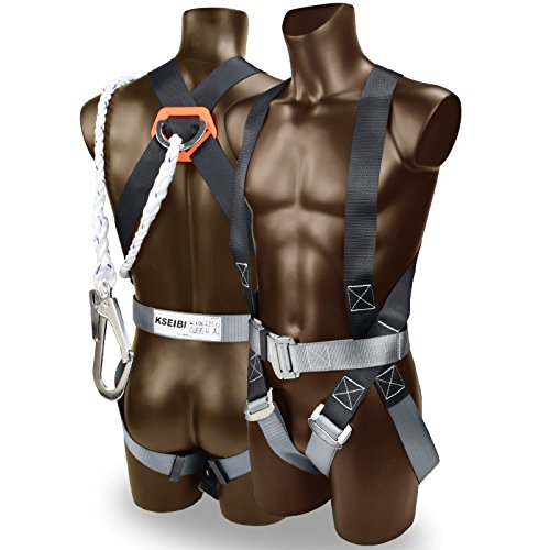 """KSEIBI 421020 Safety Harness Fall Protection Kit, Construction Full Body System, with 6"""" Lanyard and Bag Size -up to 42"""" Waist"""