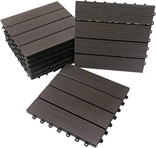 BodenMax WPC Holz-Kunststoff-Verbundwerkstoff Klickfliesen | Anthrazit| 30cm x 30cm x 2,5cm | 8 Fliesen = 0,72m² | geignet für Innen- und Außenbereich: Balkon, Terrasse, Garten, Schwimmbad, Sauna