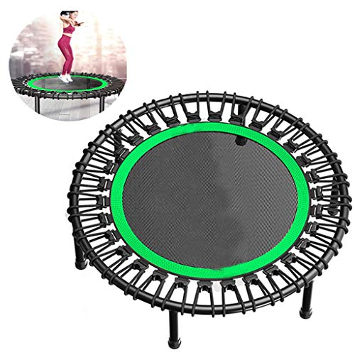 Trampolines Foldable Trampoline Mini Rebounder Indoor Trampoline Adult Children Trampette with Quiet Rubber Rope Best Home Gym for Fitness & Lose Weight (Color : Green)