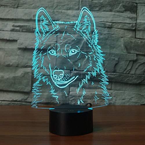 RUMOCOVO® 7 Colorido LED Luz Nocturna USB 3D Lobo Dormitorio Oficina Decoración Del Hogar Escritorio Lámpara De Mesa Niño Luces De Noche Regalo