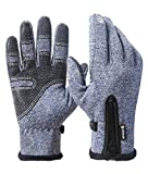 Winter Gloves for Men Women Touch Screen Gloves Windproof Cold Weather Warm Gloves for Cycling Running Driving Outdoor Recreation (Blue, XL)