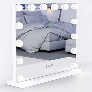 Ovonni Vanity Mirror with Lights, Hollywood Makeup Tabletop Cosmetic Lighted Mirror with 14 LED Dimmable Bulbs and Touch Control, White