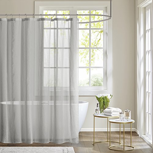 Madison Park Sheers Shower Curtain, Textured Striped Accent Design Modern Mid-Century Bathroom Decor, Machine Washable, Fabric Privacy Screen, 72x72, Grey